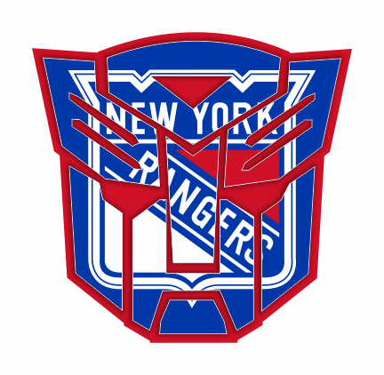 Autobots New York Rangers logo iron on sticker