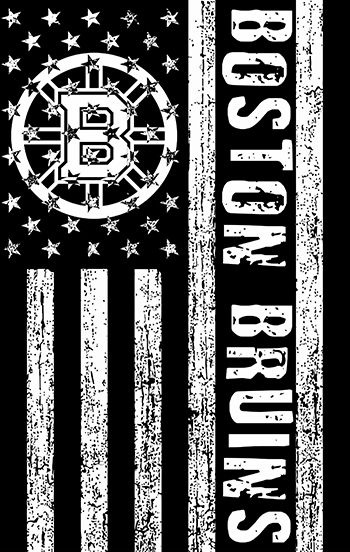 Boston Bruins Black And White American Flag logo decal sticker
