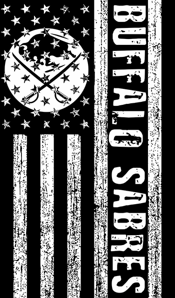 Buffalo Sabres Black And White American Flag logo decal sticker