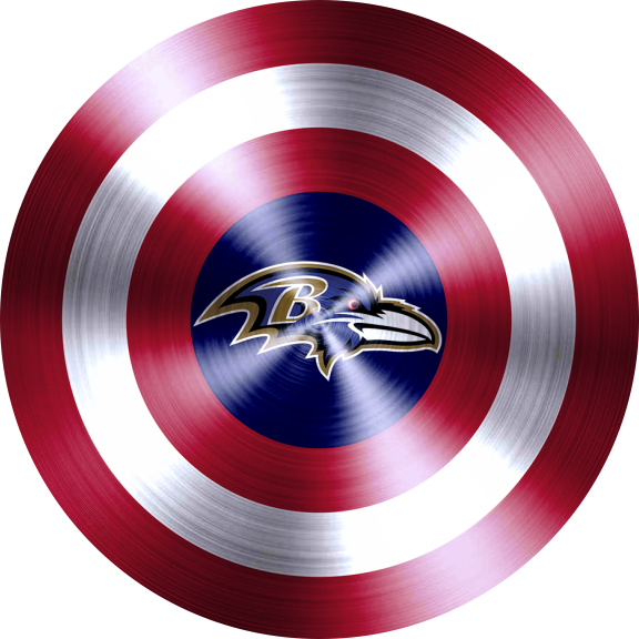 Captain American Shield With Baltimore Ravens Logo decal sticker