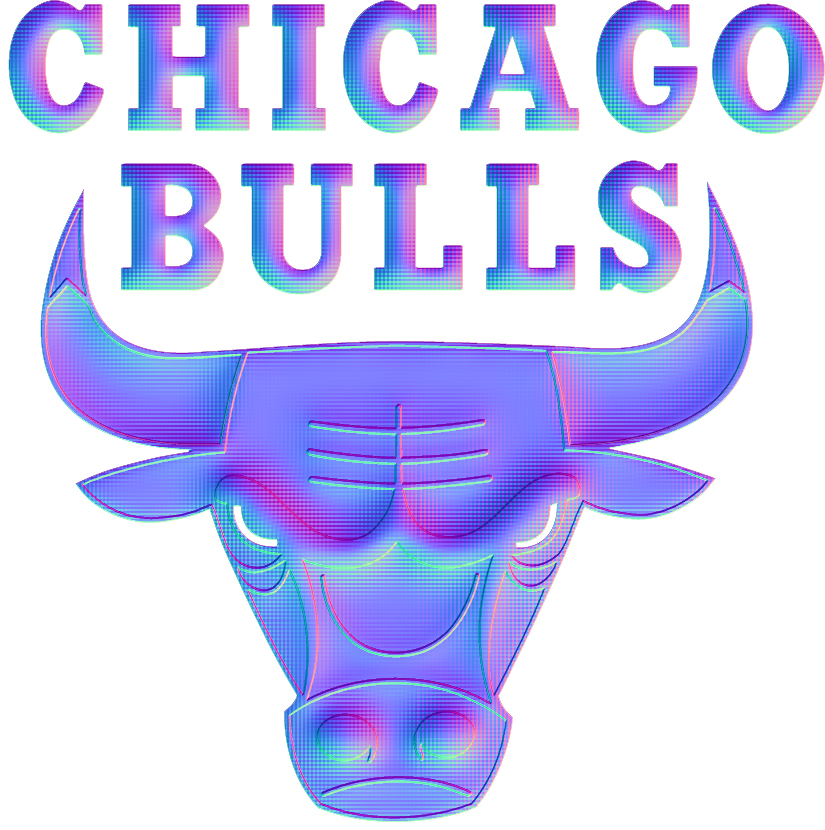 Chicago Bulls Colorful Embossed Logo iron on sticker
