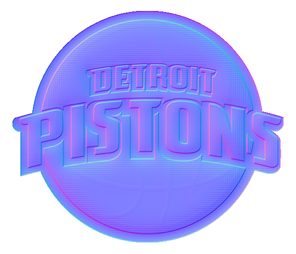 Detroit Pistons Colorful Embossed Logo iron on sticker