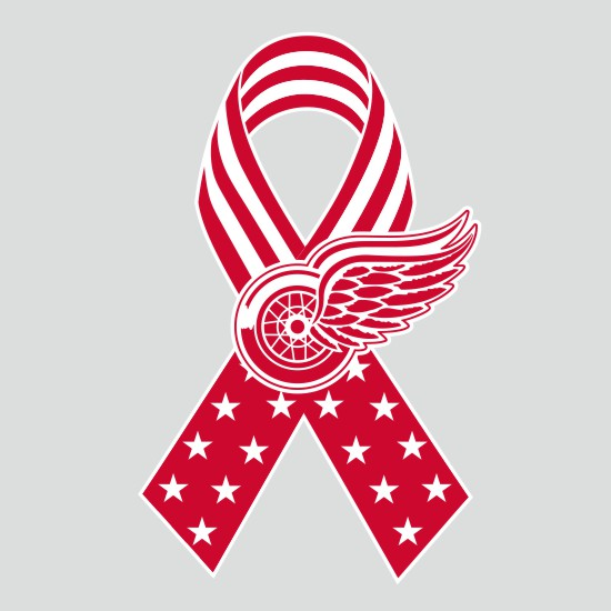 Detroit Red Wings Ribbon American Flag logo iron on sticker