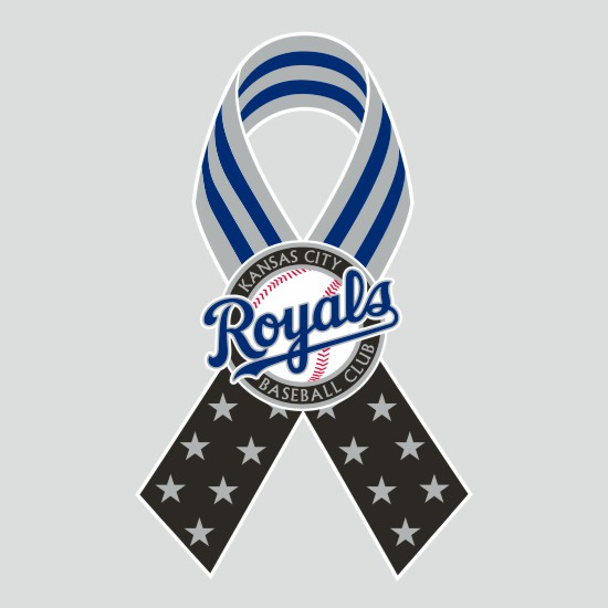 Kansas City Royals Ribbon American Flag logo iron on sticker