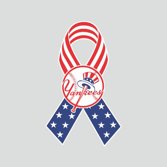 New York Yankees Ribbon American Flag logo iron on sticker