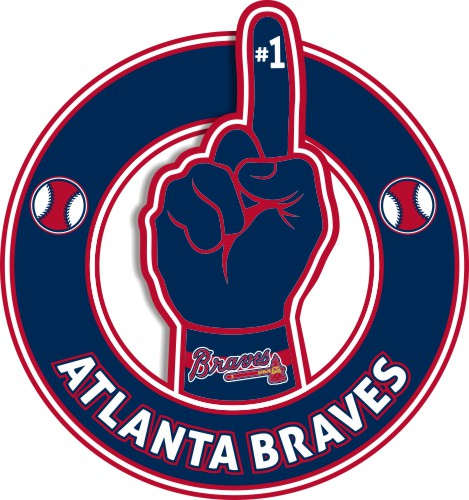 Number One Hand Atlanta Braves logo iron on sticker