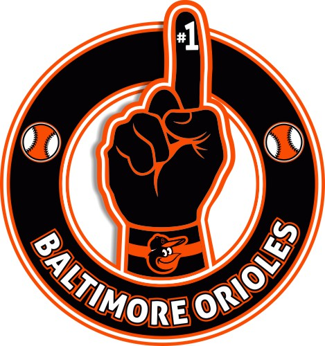 Number One Hand Baltimore Orioles logo iron on sticker