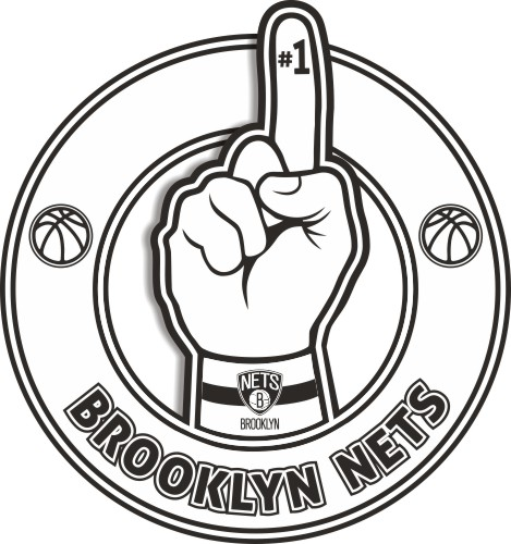 Number One Hand Brooklyn Nets logo iron on sticker