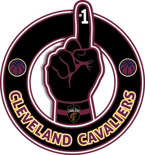 Number One Hand Cleveland Cavaliers logo iron on sticker