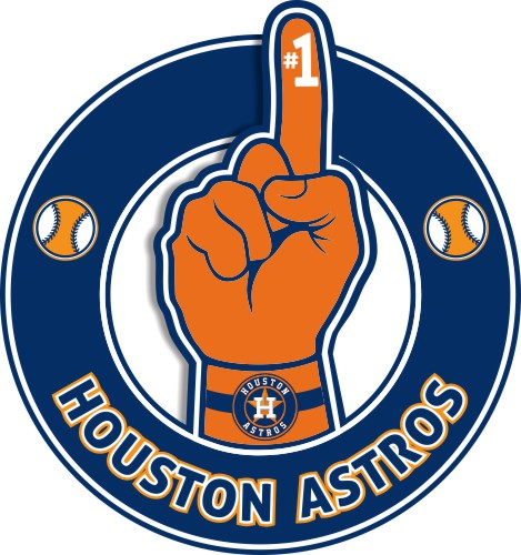 Number One Hand Houston Astros logo iron on sticker
