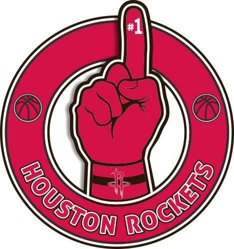 Number One Hand Houston Rockets logo iron on sticker