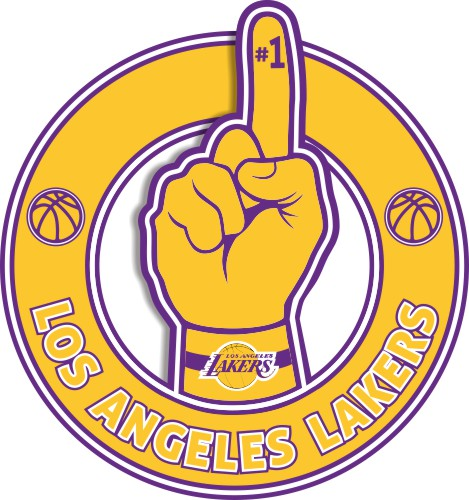 Number One Hand Los Angeles Lakers logo iron on sticker