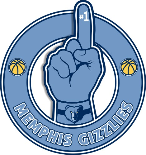 Number One Hand Memphis Grizzlies logo iron on sticker