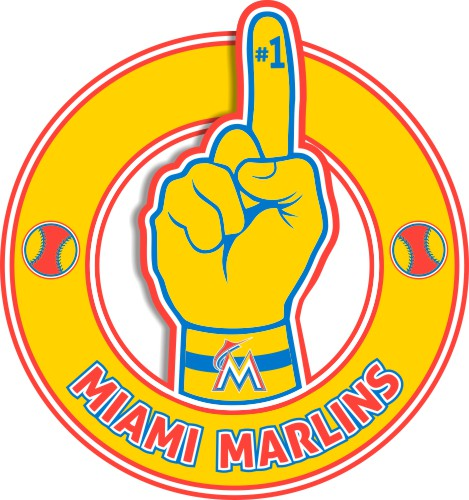 Number One Hand Miami Marlins logo iron on sticker