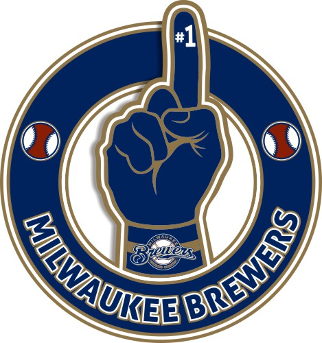 Number One Hand Milwaukee Brewers logo iron on sticker