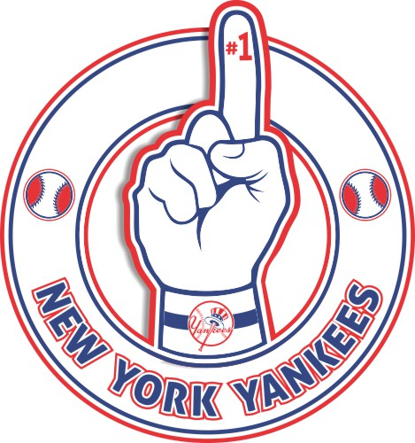 Number One Hand New York Yankees logo iron on sticker