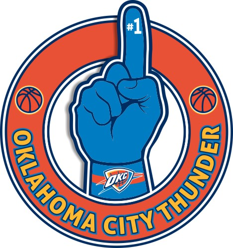 Number One Hand Oklahoma City Thunder logo iron on sticker