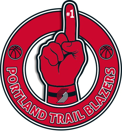 Number One Hand Portland Trail Blazers logo iron on sticker