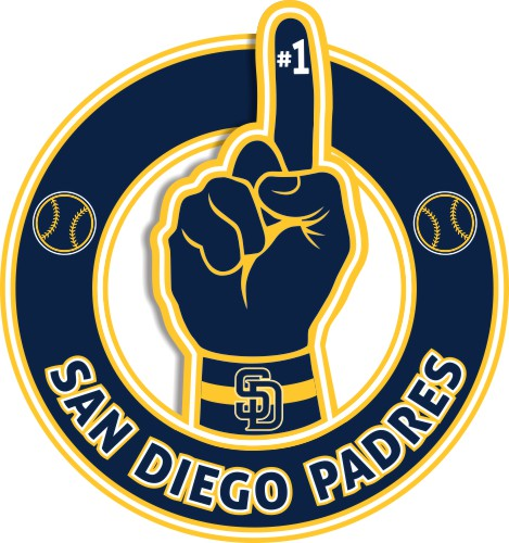 Number One Hand San Diego Padres logo iron on sticker