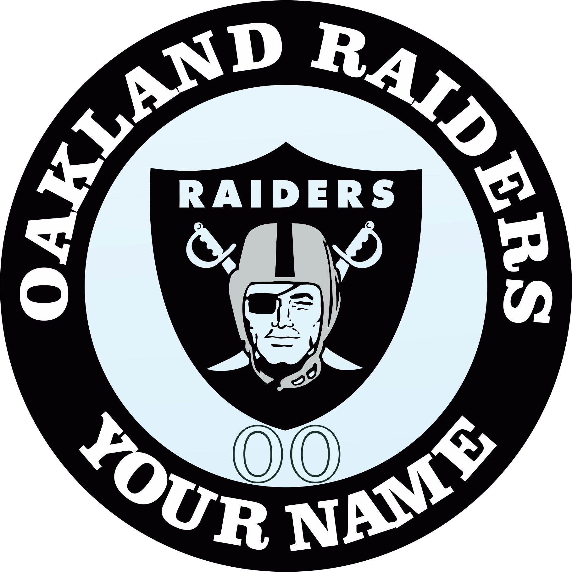 Oakland Raiders Customized Logo iron on sticker