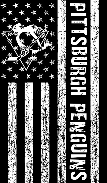 Pittsburgh Penguins Black And White American Flag logo decal sticker