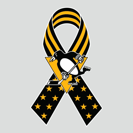 Pittsburgh Penguins Ribbon American Flag logo iron on sticker
