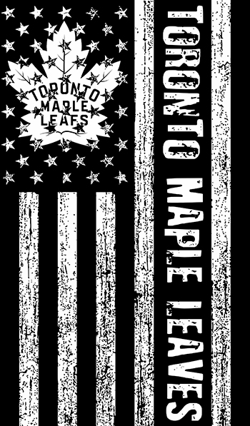 Toronto Maple Leaves Black And White American Flag logo decal sticker