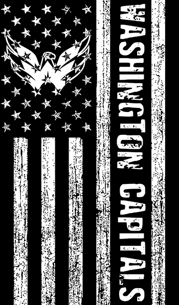 Washington Capitals Black And White American Flag logo decal sticker